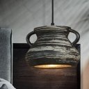 1 Head Drop Pendant Factory Dining Room Hanging Light Kit with Cylinder/Bell/Urn Ceramic Shade in Black