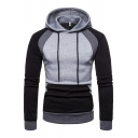 Casual Long Sleeve Drawstring Color Block Pouch Pocket Slim Fitted Hoodie for Guys