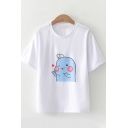 Popular Womens Short Sleeve Round Neck Cartoon Printed Loose Fit T Shirt in White