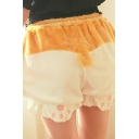 Cute Kawaii Girls Elastic Waist Paw Pattern Stringy Selvedge Fuzzy Colorblock Fit Shorts in Apricot