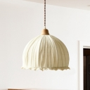 1-Head Restaurant Pendant Simple White Hanging Ceiling Light with Dome Fabric Shade