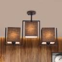 Cuboid Semi Flush Lighting Modern Fabric 3 Lights White/Black Finish Close to Ceiling Lamp