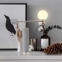 White Glass Ball Night Table Light Industrial-Style 1 Bulb Bedside Desk Lamp in Grey with Tube Cement Base