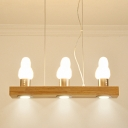 Wood Rectangle Island Light Fixture Modernism 3 Lights Ceiling Pendant Lamp with Bird Frosted Glass Shade