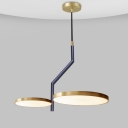 Modernist Circular LED Chandelier Lamp Metallic 2-Head Living Room Hanging Light Fixture with Curved Rod in Black and Gold