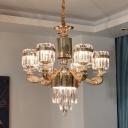 Cylinder Crystal Block Hanging Light Modernist 6/8 Heads Dining Room Chandelier Lamp Fixture in Gold