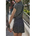 Pretty Turn-Down Collar Little Daisy Printed Bowknot Front Short Sleeve Mini Sheath Dress in Black