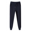 Simple Classic Guys Drawstring Waist Sherpa Liner Solid Color Ankle Cuffed Tapered Fit Sweatpants