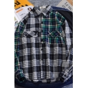 Casual Trendy Boys Long Sleeve Lapel Collar Button Up Flap Pockets Plaid Print Patchwork Curved Hem Oversize Shirt in Black