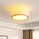 Fabric White Ceiling Light Dual Drum 4-Bulb Minimalist Flush Mount Recessed Lighting with Acrylic Diffuser