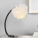 Black Bending Table Lamp Modern Stylish Layered Feather 1 Light Living Room Night Light