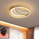 Acrylic Moon Shaped Flush Mount Lighting Cartoon Style LED Gold Close to Ceiling Lamp