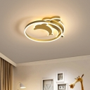 Kids LED Flush Mount Light Fixture Gold/Coffee Finish Dolphin Ceiling Lighting with Acrylic Shade