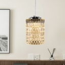 1 Bulb Mini Cylindrical Pendant Lamp Simple Chrome Beveled Crystal Hanging Ceiling Light over Dining Table