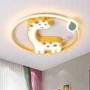 Yellow Giraffe Lighting Fixture Kids Style Acrylic LED Ceiling Flush Mount with Leaf Design for Bedroom in Warm/White Light