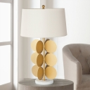 Mid Century Tapered Drum Shade Table Lamp 1-Light Fabric Nightstand Lighting in White with Gold Circles Base