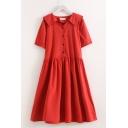Summer Pretty Girls Short Sleeve Peter Pan Collar Button Up Rabbit Embroidery Linen Midi Pleated Swing Dress