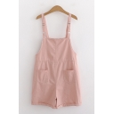 Simple Lovely Girls Sleeveless Drawstring Waist Roll Edge Solid Color Relaxed Straight Suspender Shorts