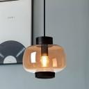 Retro Ceiling Hanging Lantern Smoke/Cream/Cognac Glass 1 Bulb Living Room Pendant Light Kit in Black/White
