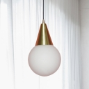 Brass Cone Ball Hanging Lamp Postmodern 1-Light Opal Glass Suspension Light over Dining Table