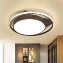 Black Car Flush Mount Cartoon Style LED Acrylic Ceiling Light Fixture in Warm/White Light with Circular Design
