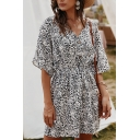 Fancy Ladies Short Sleeve V-Neck Button Up Gathered Waist Ditsy Floral Printed Mini A-Line Dress