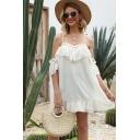Amazing White Short Sleeve Cold Shoulder Polka Dot Print Ruffled Lace Trim Chiffon Mini Swing Cami Dress for Women