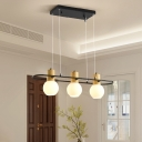 Rotatable Bulb Shaped Pendant Lamp Nordic Milk Lattice Glass 3/4 Lights Dining Room Island Lighting in Black-Wood