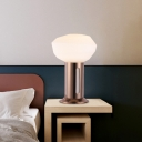 Bowl Shade Bedside Table Lamp Frosted White Glass 1 Head Minimalist Night Light with Copper Tube Stand