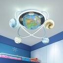 Planets Arounding Earth Acrylic Flush Light Kids 4 Lights Blue Finish LED Ceiling Flush Mount