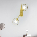 Mid Century Geometric Wall Light Metallic 1/2-Light Lounge Sconce Lighting in Brass with Exposed Bulb Design