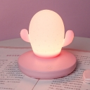 Silica Gel Cactus-Shape Night Lamp Cartoon LED Night Table Light in White/Pink/Blue for Kids Room