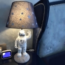 Silver/Blue Barrel Table Lighting Cartoon LED Fabric Night Lamp with Astronaut Base and Star Pattern