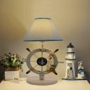 Mediterranean Rudder Reading Light Wood LED Bedside Night Table Lamp in White with Conic Fabric Shade