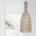 Long Neck Bottle Bamboo Hanging Pendant Asia 1 Head Khaki Suspended Lighting Fixture