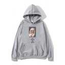 Korean Boys Long Sleeve Drawstring Letter GOD TOLD ME TO KEEP GOING Graphic Pouch Pocket Relaxed Hoodie
