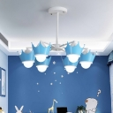 Crown Chandelier Pendant Light Kids Style Iron 8 Heads Child Room Hanging Lamp in Yellow/Blue