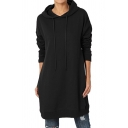 Leisure Womens Long Sleeve Drawstring Solid Color Longline Oversize Hoodie