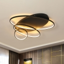 Oval Ring Metal Ceiling Mounted Light Modern Black/White/Gold Finish LED Flush Lamp Fixture in Warm/White Light