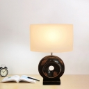 1-Light Donut Night Lamp Transitional Black/Silver Resin Table Lighting with Rectangle/Drum Lamp Shade