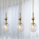 Brass 3 Bulbs Hanging Light Vintage Transparent Hammered Glass Cluster Ball Pendant over Table