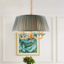 Grey Fabric Drum Hanging Chandelier Traditional 5 Lights Dining Room Ceiling Pendant Lamp in Brass