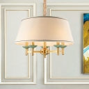 5 Heads Pendulum Light Traditional Dining Room Chandelier Lamp Fixture with Drum Fabric Shade in White