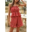 Chic Pretty Ladies Red Sleeveless Strapless Ditsy Floral Print Ruffled Trim Fit Tube Top & Relaxed Shorts Co-Ords