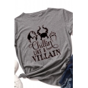 Fashionable Girls Rolled Short Sleeve Crew Neck Letter CHILLIN LIKE A VILLAIN Cartoon Graphic Regular Fit Tee