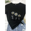 Casual Womens Short Sleeve Crew Neck Letter Daisy Graphic Slim Fit T-Shirt