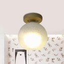 Dome Foyer Mini Ceiling Light Frosted White Crackle Glass 1 Bulb Simple Flush Mounted Lamp