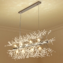 Crystal Bead Fireworks Island Light Contemporary 12 Lights Dining Room LED Pendant in Chrome