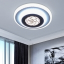 Acrylic Circle Ceiling Mounted Fixture Modernism LED Flush Lighting in White with Rose Pattern