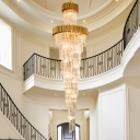 14-Bulb Spiral Hanging Chandelier Minimalism Black/Brass Beveled Crystal Ceiling Pendant Light